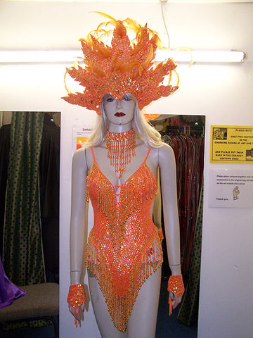 orange sequin showgirl leotard and vegas headdress