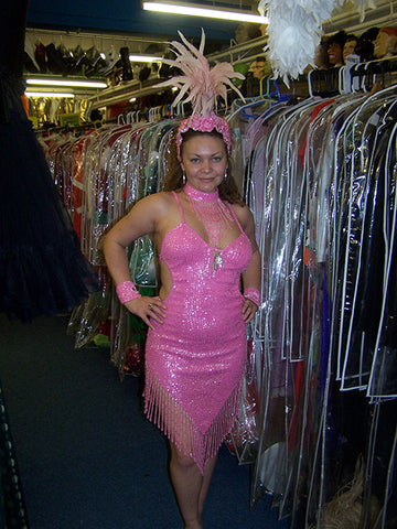 pink sequin cabaret las vegas showgirl dress