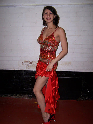 red and gold latin carnival dress