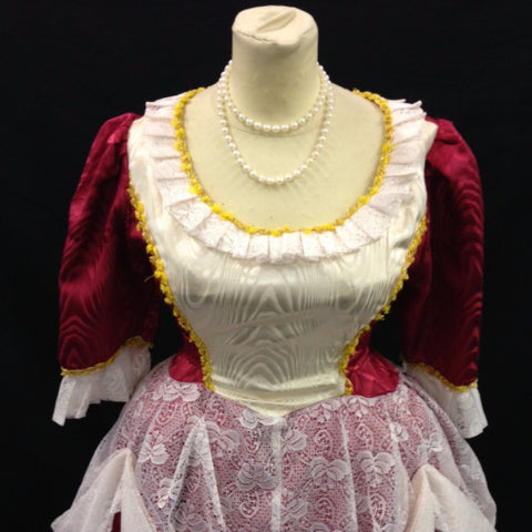 18th Century Dress in Red & Cream