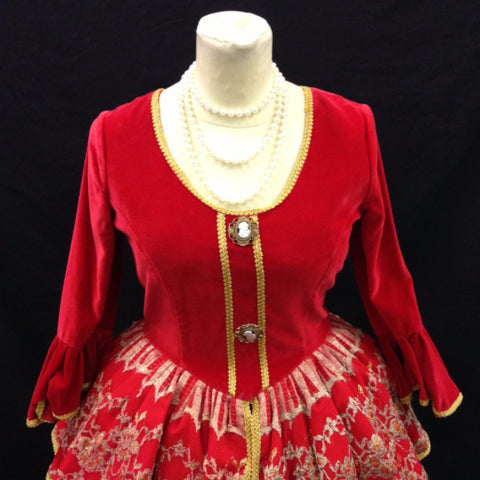 18th Century Dress in Red & Gold