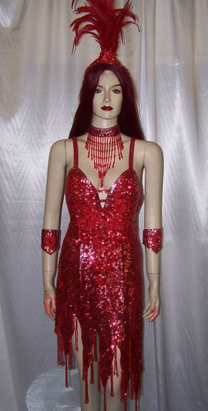 Red Sequin Vegas Showgirl Dress And Feathered Headdress