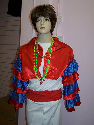 red white and blue mens carnival party shirt and carnival costume