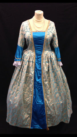 18TH CENTURY BLUE AND GOLD DRESS