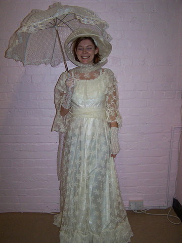 victorian cream satin and lace dress with hat and parasol