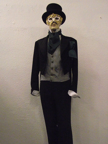 victorian mans evening suit and venetian mask