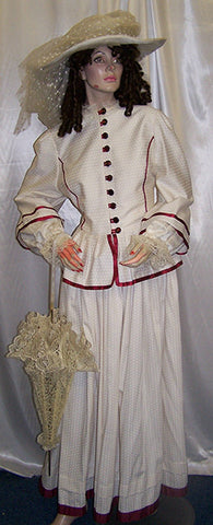 victorian period ladies dress and hat