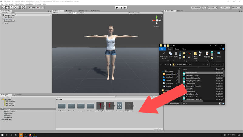 Drag motion capture file into unity project