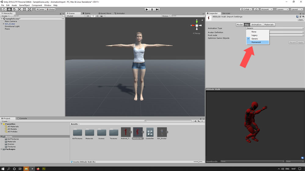 Set model as a humanoid character in unity mecanim