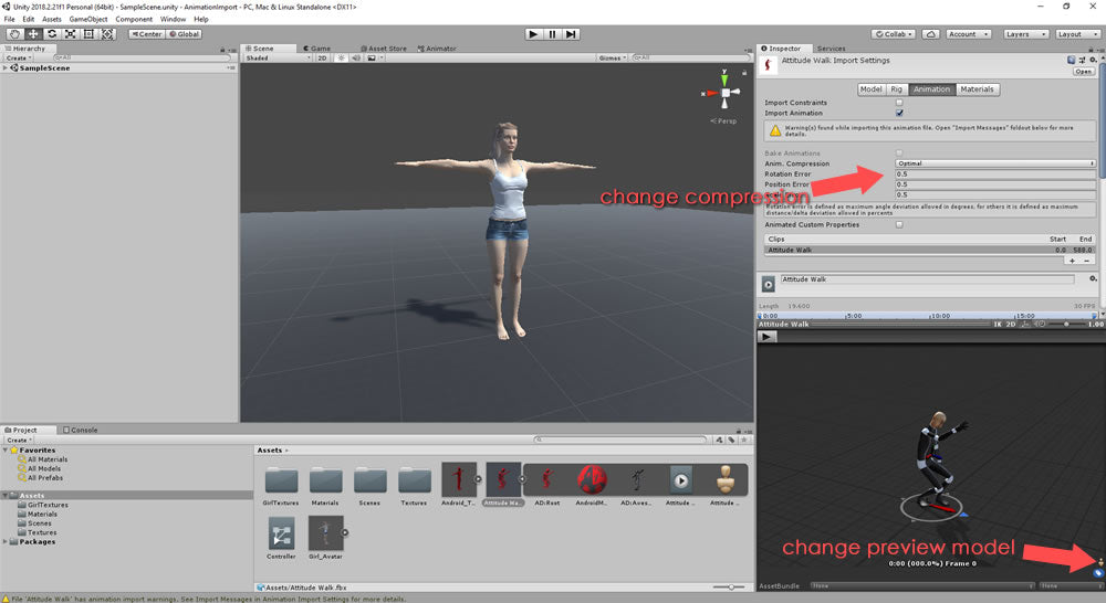 Preview animation in Unity and adjust animation compression