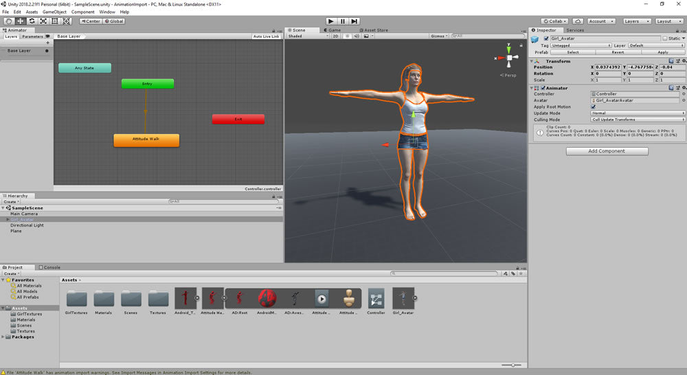 Play animation in unity on a humanoid character using an animation controller