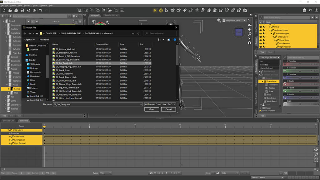Select correct mocap bvh file for the daz character you have in the scene
