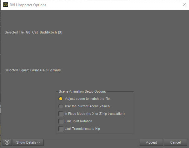 Leave settings as they are for mocap import into daz