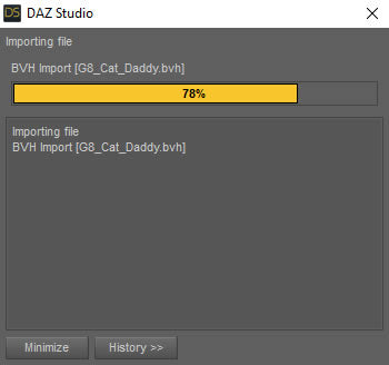 Wait for mocap bvh file to import into Daz