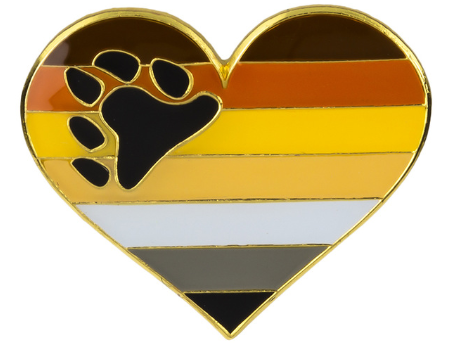 Bear Pride Heart Brooch Pin