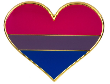 Bisexual Pride Heart Brooch Pin
