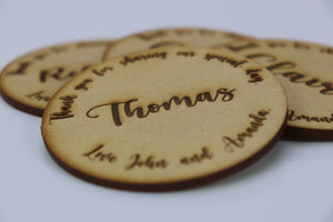 Personalised Wedding Name Signs - Coaster with name and personalised message