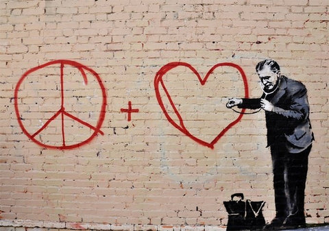 Banksy Listen to your heart Wall Art Canvas Print
