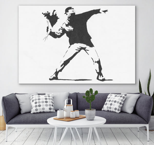Banksy love is in the air wall art canvas
