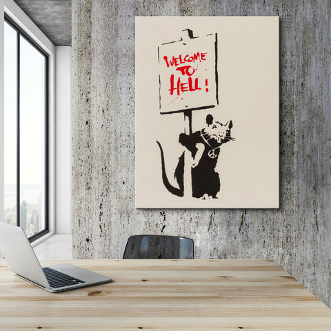 Banksy Welcome to Hell Canvas Wall Art