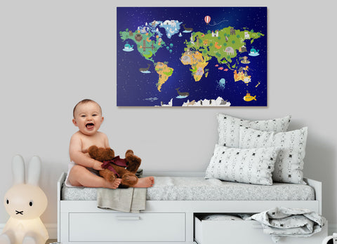 nursery world map wall art canvas print