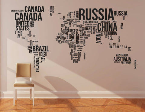 Wall sticker world map wall art