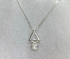 18ct White Gold Triangle Hanging Diamond Necklace