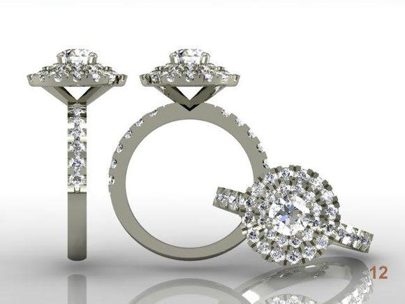 Double Halo Brilliant Cut Diamond with Diamond Shoulders