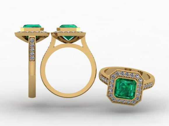 Emerald Cut Green Emerald & Halo Diamond Ring