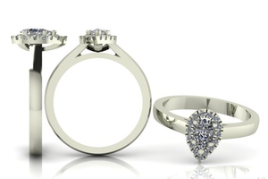 Pear Shape Diamond Halo Ring