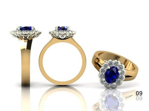 Antique Style Oval Cut Sapphire Diamond Halo Ring