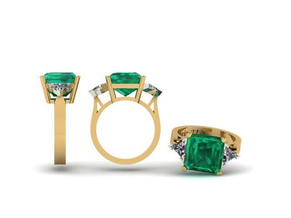 3 Stone Emerald & Trilliant Cut Diamond Ring