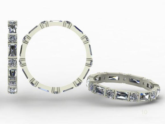Alternating Baguette Diamond Band