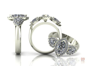 Trilogy Marquise Cut Diamonds with Diamond Halo