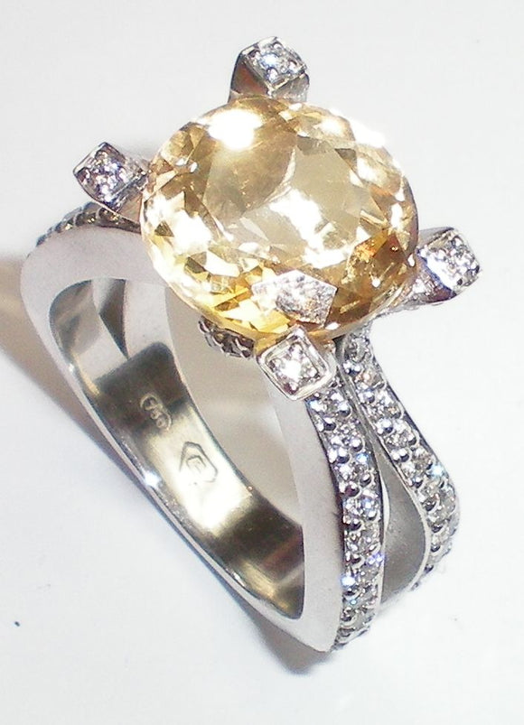 Four Claw Brilliant Cut Citrine Diamond Ring