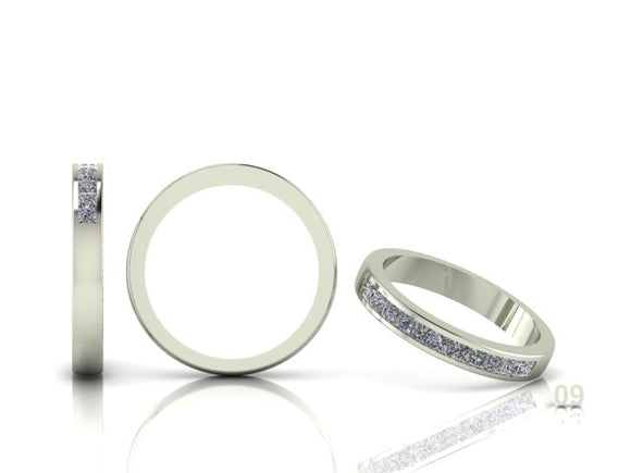 Channel Set Princess Cut Diamond Band