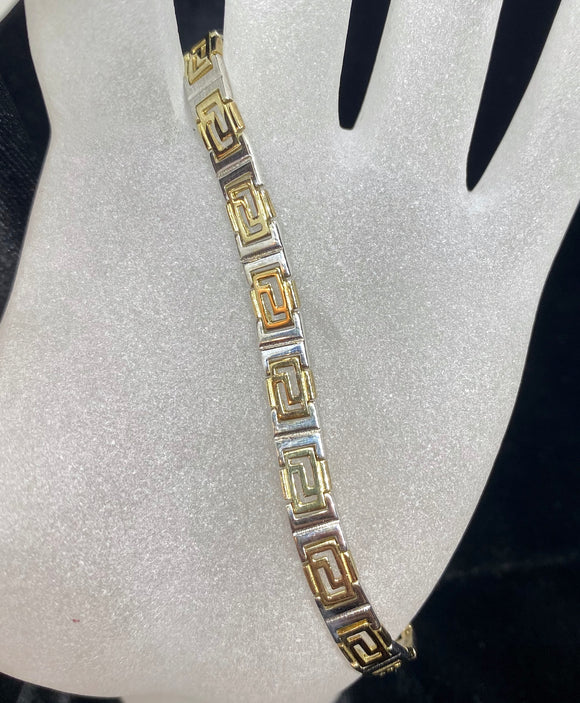 9ct Two Tone Greek Key Bracelet