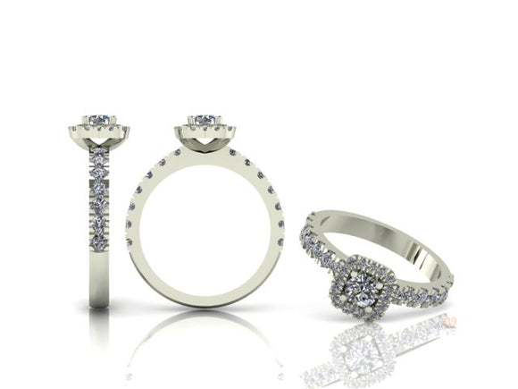 4 Claw Brilliant Cut Diamond Ring with Diamond Halo & Shoulders