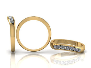 Channel Set Brilliant Cut Diamond Curved Band