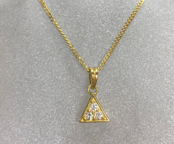18ct Yellow Gold Diamond Triangle Necklace