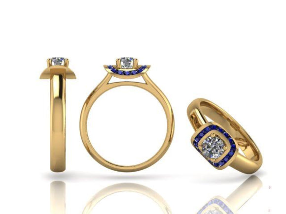 Brilliant Cut Diamond & Sapphire Ring