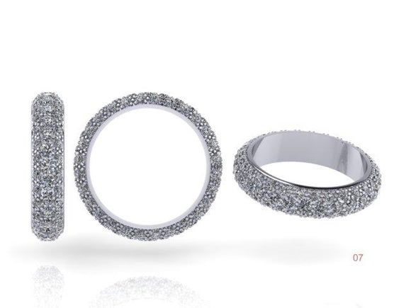 3 Row Brilliant Cut Diamond Pave Ring