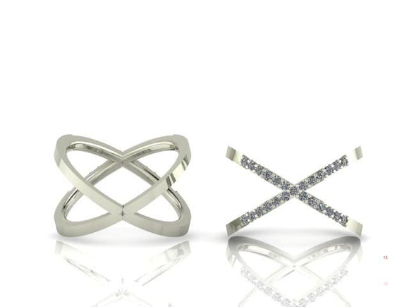 Brilliant Cut Diamond Cross Over Ring
