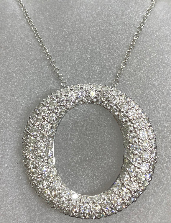 18ct White Gold Pavé Diamond 'O' Necklace