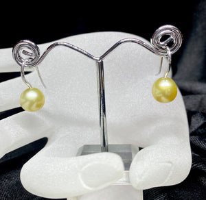 9ct White Gold Golden South Sea Pearl Earrings