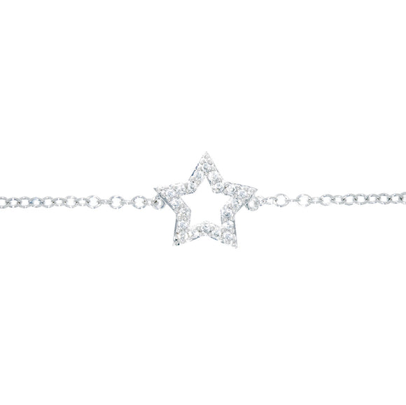 9ct White Gold Diamond Dress Star Bracelet