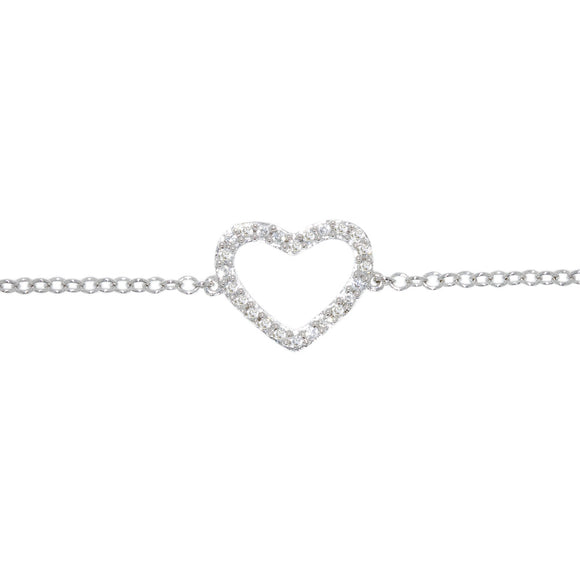 9ct White Gold Diamond Dress Heart Bracelet