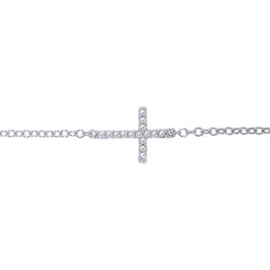 9ct White Gold Diamond Dress Cross Bracelet