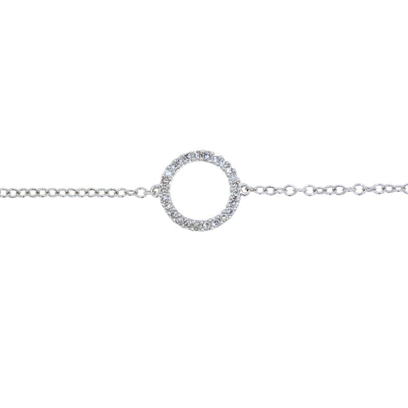 9ct White Gold Diamond Dress Circle Bracelet