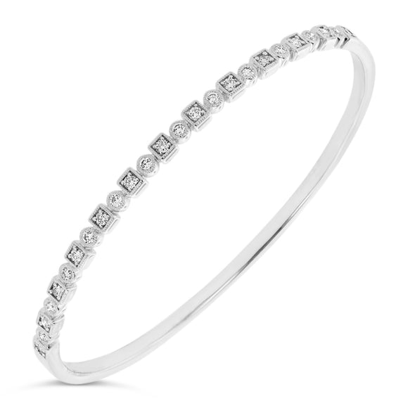 9ct White Gold Diamond Dress Bangle